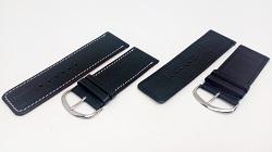 Bracelet montre en cuir de veau noir façon autruche,disponible de 26mm à 30mm