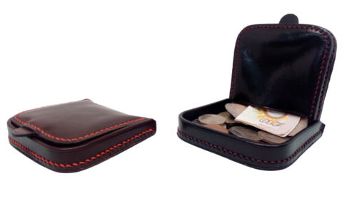 Porte-Monnaie,disponible en Marron fil orange et Noir fil rouge
