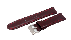 Bracelet chrono marron cousu a rouge