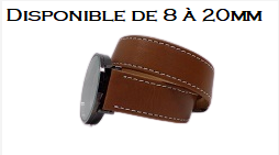 Bracelet montre double tour de poignet-Marron dispo. de 8 à 20mm